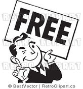 Royalty Free Black and White Retro Vector Clip Art of a Free Man by BestVector