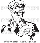Royalty Free Black and White Retro Vector Clip Art of a Friendly Mailman by BestVector