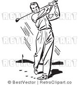 Royalty Free Black and White Retro Vector Clip Art of a Golfer by BestVector