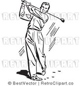 Royalty Free Black and White Retro Vector Clip Art of a Golfer Swinging by BestVector