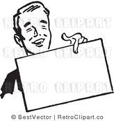 Royalty Free Black and White Retro Vector Clip Art of a Guy Holding a Blank Sign by BestVector