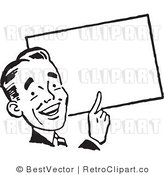 Royalty Free Black and White Retro Vector Clip Art of a Guy Pointing to a Blank Sign by BestVector