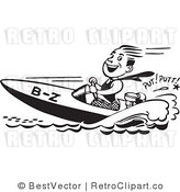 Royalty Free Black and White Retro Vector Clip Art of a Guy Racing a Speed Boat by BestVector