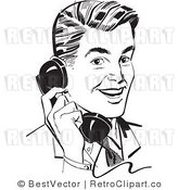 Royalty Free Black and White Retro Vector Clip Art of a Guy Talking on a Phone by BestVector