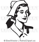 Royalty Free Black and White Retro Vector Clip Art of a Happy Nurse by BestVector