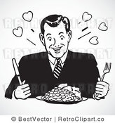 Royalty Free Black and White Retro Vector Clip Art of a Hungry Man Eating by BestVector