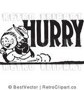 Royalty Free Black and White Retro Vector Clip Art of a Hurry Man by BestVector