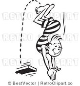 Royalty Free Black and White Retro Vector Clip Art of a Man Diving by BestVector