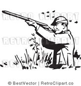 Royalty Free Black and White Retro Vector Clip Art of a Man Hunting Fowl by BestVector