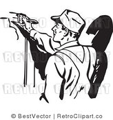 Royalty Free Black and White Retro Vector Clip Art of a Man Painting by BestVector