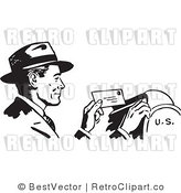 Royalty Free Black and White Retro Vector Clip Art of a Man Sending Mail by BestVector