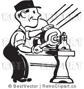 Royalty Free Black and White Retro Vector Clip Art of a Mechanic by BestVector