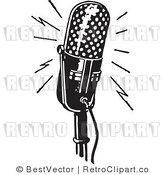 Royalty Free Black and White Retro Vector Clip Art of a Microphone by BestVector
