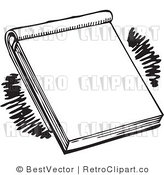 Royalty Free Black and White Retro Vector Clip Art of a Notepad by BestVector