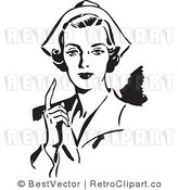 Royalty Free Black and White Retro Vector Clip Art of a Nurse by BestVector