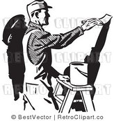 Royalty Free Black and White Retro Vector Clip Art of a Painter by BestVector