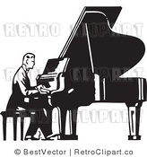 Royalty Free Black and White Retro Vector Clip Art of a Pianist by BestVector