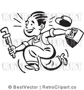 Royalty Free Black and White Retro Vector Clip Art of a Plumber by BestVector