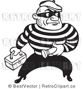 Royalty Free Black and White Retro Vector Clip Art of a Robber by BestVector