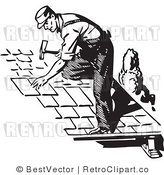 Royalty Free Black and White Retro Vector Clip Art of a Roofer by BestVector