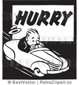 Royalty Free Black and White Retro Vector Clip Art of a Rushed Driver by BestVector