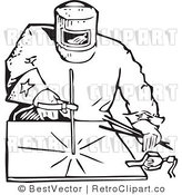 Royalty Free Black and White Retro Vector Clip Art of a Welder by BestVector