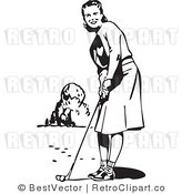 Royalty Free Black and White Retro Vector Clip Art of a Woman Playing Golf by BestVector