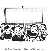 Royalty Free Black and White Retro Vector Clip Art of a Young Crowd of People Standing Beside Blank Sign by BestVector