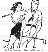 Royalty Free Black and White Retro Vector Clip Art of a Young Man and Woman Playing Golf Together by BestVector