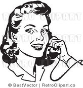 Royalty Free Black and White Retro Vector Clip Art of a Young Woman Smiling While Listening to Someone Talk on a Telephone by BestVector