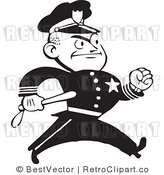 Royalty Free Black and White Retro Vector Clip Art of an Angry Police Man by BestVector