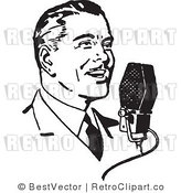 Royalty Free Black and White Retro Vector Clip Art of an Announcer by BestVector