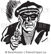 Royalty Free Black and White Retro Vector Clip Art of an Armed Robber by BestVector