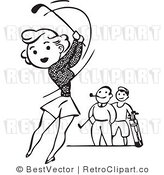 Royalty Free Black and White Retro Vector Clip Art of an Attractive Girl Playing Golf with Two Boys by BestVector
