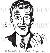 Royalty Free Black and White Retro Vector Clip Art of an Excited Businessman by BestVector