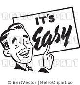 Royalty Free Black and White Retro Vector Clip Art of an Its Easy Man by BestVector