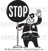 Royalty Free Black and White Retro Vector Clip Art of an Officer Stopping by BestVector