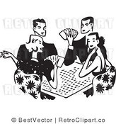 Royalty Free Black and White Retro Vector Clip Art of Couples Playing Cards by BestVector