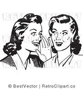 Royalty Free Black and White Retro Vector Clip Art of Ladies Gossiping by BestVector