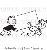 Royalty Free Black and White Retro Vector Clip Art of Retro Guys Carrying a Blank Sign by BestVector