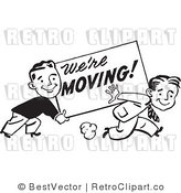 Royalty Free Black and White Retro Vector Clip Art of We're Moving Men by BestVector
