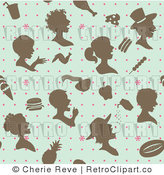 Royalty Free Retro Blue Brown and Pink People and Food Background Pattern by Cherie Reve