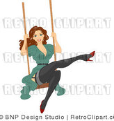 Royalty Free Retro Brunette Woman Swinging by BNP Design Studio