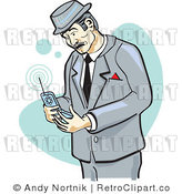 Royalty Free Retro Businessman Using a Cell Phone with Blue and White Background by Andy Nortnik