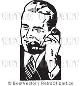 Royalty Free Retro Businessman Using a Phone by BestVector