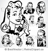 Royalty Free Retro Collage of Men and Women Using Phones by BestVector