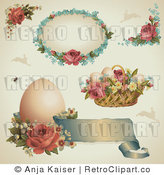 Royalty Free Retro Collage of Victorian Easter Designs with Roses Eggs and Baskets by Anja Kaiser