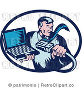Royalty Free Retro Computer Repair Guy with a Cable and Laptop by Patrimonio