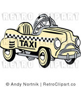 Royalty Free Retro Faded Yellow Toy Pedal Taxi Car by Andy Nortnik