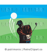 Royalty Free Retro Golfer Man Swinging over Blue Sky and Golf Course by Patrimonio